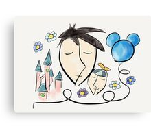 Father and son dreaming about Disneyland ! Canvas Print