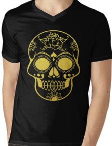 Gold Ornate Skull Mens V-Neck T-Shirt