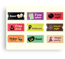 Retro halloween vector tickets. Going to Halloween party? Booo! Use my tickets! Canvas Print