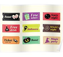 Retro halloween vector tickets. Going to Halloween party? Booo! Use my tickets! Poster
