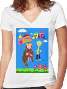 Love Blooms Here Women's Fitted V-Neck T-Shirt