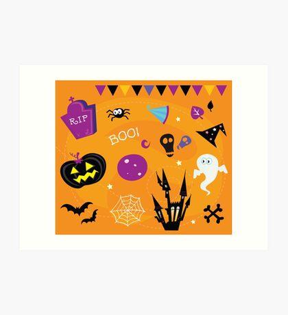 Halloween icons and design elements. Retro halloween icons and graphic elements isolated on orange background Art Print