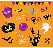 Halloween icons and design elements. Retro halloween icons and graphic elements isolated on orange background Photographic Print