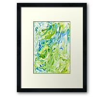 Marble natural green watercolor texture Framed Print