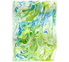 Marble natural green watercolor texture Poster