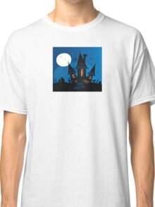 Haunted scary house. Old scary mansion. Illustration. Classic T-Shirt
