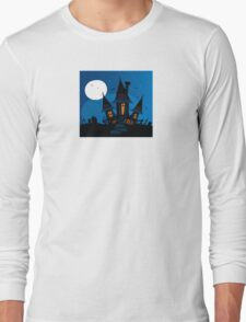 Haunted scary house. Old scary mansion. Illustration. Long Sleeve T-Shirt