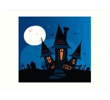Haunted scary house. Old scary mansion. Illustration. Art Print