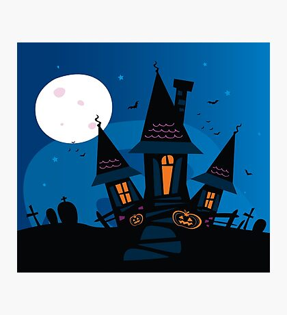 Haunted scary house. Old scary mansion. Illustration. Photographic Print