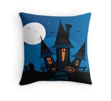 Haunted scary house. Old scary mansion. Illustration. Throw Pillow