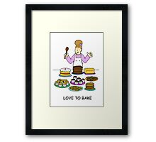 Love to bake, lady with cakes. Framed Print