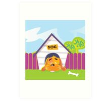 Dog sleeping in dog house. Cute dog sleep in dog house. Vector Illustration. Art Print
