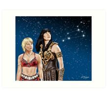 Xena and Gabrielle Stargaze Art Print