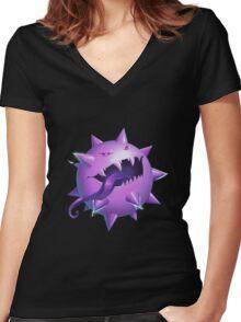 Haunted Pokeball - Pokemon rendition Women's Fitted V-Neck T-Shirt
