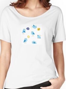 Twitter message birds set. Collection of Twitter bird icons. Women's Relaxed Fit T-Shirt