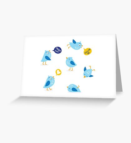Twitter message birds set. Collection of Twitter bird icons. Greeting Card