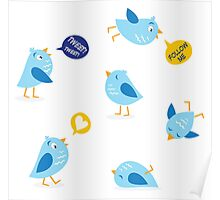 Twitter message birds set. Collection of Twitter bird icons. Poster