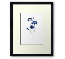 Poppy Abstract Watercolor Painting Blue Poppies Illustration Framed Print
