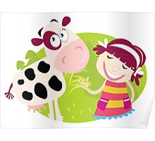 Farm girl with small cow. Small child is feeding cute calf. Illustration. Poster