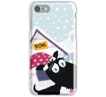 Funny christmas dog. Adorable christmas doggie in christmas hat iPhone Case/Skin