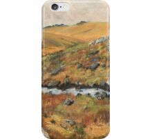 Dartmoor Landscape, View of Staple Tors from Walkham Valley, Original Oil Painting iPhone Case/Skin