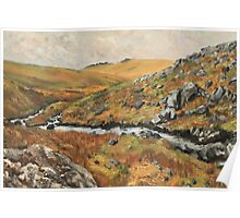 Dartmoor Landscape, View of Staple Tors from Walkham Valley, Original Oil Painting Poster