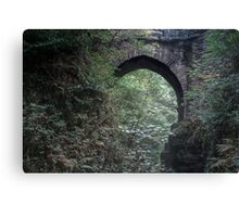 MORNING WALK UNDER THE MISTY BRIDGE Canvas Print