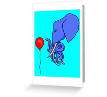 Curious Octophant and the Red Balloon Greeting Card