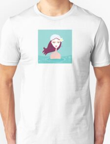 Hydrotherapy: Spa woman relaxing in blue. Beautiful spa woman is relaxing in blue water spa.  Unisex T-Shirt
