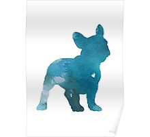 French Bulldog Watercolor Turquoise Home Decor Dog Illustration Poster