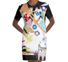 Birds Night Cats and Moon Light Graphic T-Shirt Dress