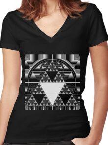 Monochrome, Sierpinski Triangle Women's Fitted V-Neck T-Shirt