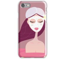 Spa girl relax in flower red bath. Beautiful spa girl relaxing in red bath iPhone Case/Skin