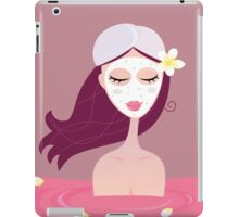 Spa girl relax in flower red bath. Beautiful spa girl relaxing in red bath iPad Case/Skin