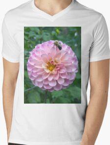 .Dahlia With Bee. Mens V-Neck T-Shirt