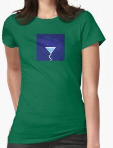 Party night: Martini alcohol tropical drink. Fresh martini drink stylized on dark blue background. Vector Illustration of party drink. Womens Fitted T-Shirt