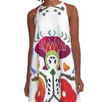 Bali Flowers White A-Line Dress