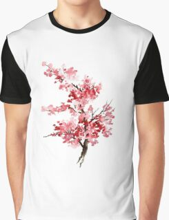 Flower Cherry Blossom Watercolor Painting Illustration Image Picture Graphic T-Shirt