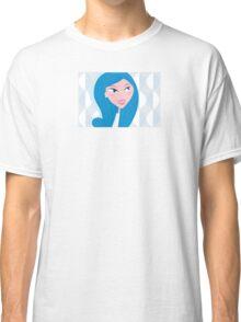 Winter woman face - light skin type (vector). Beautiful woman with light skin skin type Classic T-Shirt
