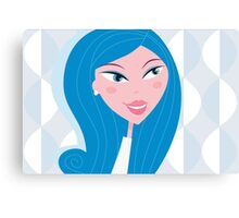 Winter woman face - light skin type (vector). Beautiful woman with light skin skin type Canvas Print