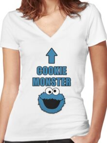 Cookie Monster Funny Shirt Women's Fitted V-Neck T-Shirt