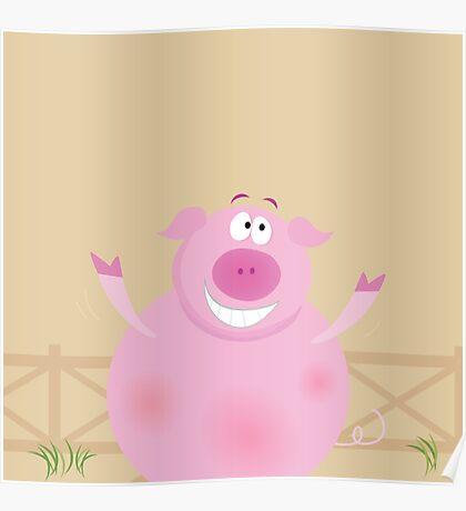 Farm animals: happy pig. Happy pig on farm Poster