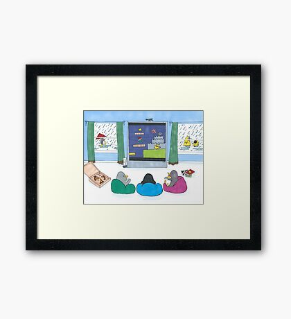 Penguins Playing Videogames Framed Print