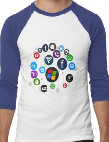 Funny Social Media Men's Baseball ¾ T-Shirt