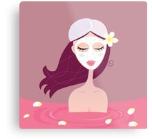 Spa girl relax in flower red bath. Beautiful spa girl relaxing in red bath Metal Print
