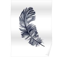 Navy Feather Art Print Blue Watercolor Painting Illustration  Poster