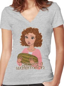 I Carried a Watermelon Women's Fitted V-Neck T-Shirt