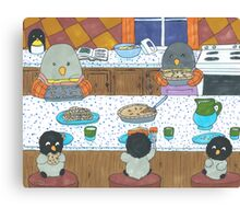 Penguins in the Kitchen Canvas Print