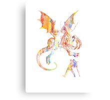 Alice vs The Jabberwocky Watercolor Canvas Print