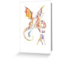 Alice vs The Jabberwocky Watercolor Greeting Card